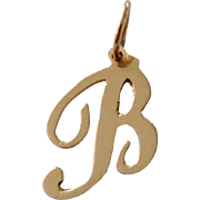 14K Solid Gold Cursive Initial B or R Necklace Pendant
