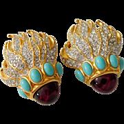 "Elizabeth Taylor for Avon ""Eternal Flame"" Crystal Rhinestone Clip-On Earrings"