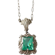 Vintage Art Deco Sterling Silver Necklace with Green Stone