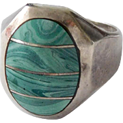 Estate Sterling Silver & Blue Malachite Inlay Banded Ring, Size 9