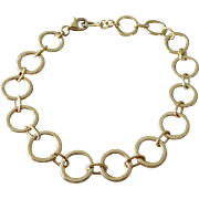 Vintage Sterling Silver Vermeil Circle Link Bracelet