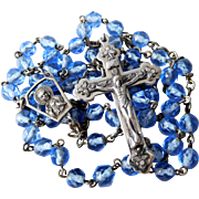 Vintage Blue Faceted Crystal Bead Rosary