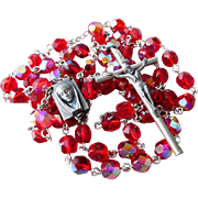 Vintage Italain Red Aurora Borealis Faceted Glass Bead Rosary