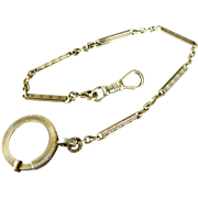 Antique 14K Yellow Gold Art Deco Link Pocket Watch Fob Chain