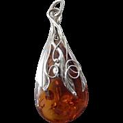 Vintage Estate Sterling Silver & Baltic Amber Necklace Pendant