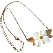 Vintage 14K Gold Filled Carved Dogwood Blossom Pendant Necklace