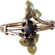 Antique Victorian 10K Black Hills Gold Ring with Blue Stone