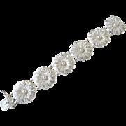 Vintage German Sterling Silver Filigree Flower Link Bracelet.