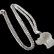 Vintage Czech Crystal Kitty Cat Pendant Necklace