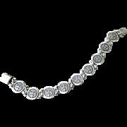 Vintage Taxco Sterling Silver Mayan Face Link Bracelet