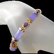 Estate 14K Gold & Lavender Jade Amethyst Tennis Bracelet