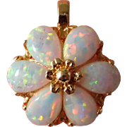 Vintage 14K Solid Gold & Fire Opal Flower Necklace Pendant