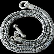 "Vintage Massive Sterling Silver Foxtail Link Toggle Necklace 20"""