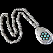 Vintage Sterling Silver Henry Roanhorse Navajo Native American Turquoise Pendant Necklace