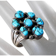 Vintage Southwest Sterling Silver Sleeping Beauty Turquoise Ring