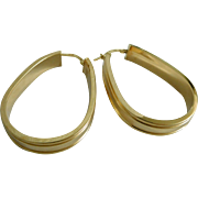 Vintage Classic Italian 14K Gold Hoop Earrings