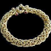 Vintage Italian Gold Vermeil Sterling Silver Byzantine Link Bracelet