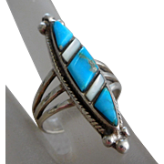 Vintage Southwest Native American Sterling Silver Turquoise & Mother Of Pearl Ring