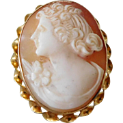 Vintage 10K Solid Gold & Carved Shell Cameo Brooch / Necklace Pendant