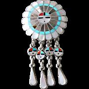 Vintage Sterling Silver J D Massie Native American Sun God Inlay Brooch Necklace Pendant