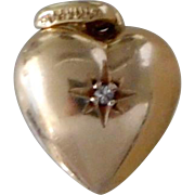 Vintage 14K Solid Gold & Diamond 3D Puffy Heart Pocket Watch Fob Charm.