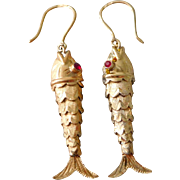Vintage 18K Gold Articulated Fish Pendant Earrings With Ruby Eyes