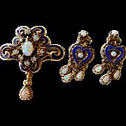 Antique Victorian 14K Gold & Fire Opal Pendant Earrings & Brooch / Pendant Set