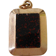 Antique Victorian 14K Gold Blood Stone & Black Glass Pocket Watch Fob Locket Charm