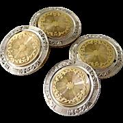 Antique Art Deco 14K Solid Yellow & White Gold Shield Cufflinks.