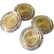 Antique Art Deco 14K Solid Yellow & White Gold Shield Cufflinks.