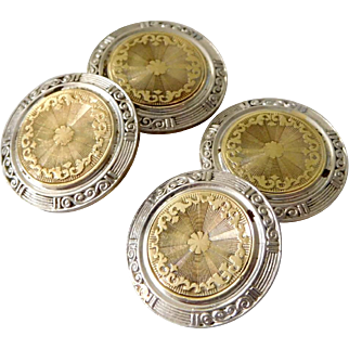 Antique Art Deco 14K Solid Yellow & White Gold Shield Cufflinks