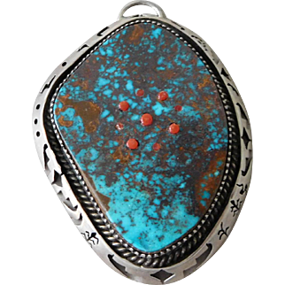 Vintage Southwest Native American Navajo Arist Chris Billie Sterling Silver Turquoise Necklace Pendant