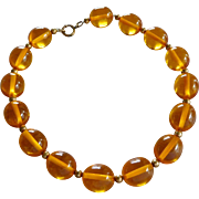 Vintage 1940's Amber Color Lucite Bead Choker Necklace