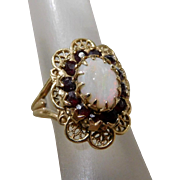 Antique Victorian 10K Solid Gold Garnet & Fire Opal Ring