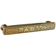Antique Victorian 14K Solid Gold Baby Brooch Pin