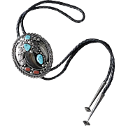 Vintage Native American Sterling Silver Navajo Bolo Tie Bear Claw Coral Turquoise Signed Jackie Singer