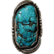 Huge Vintage Southwest Native American Sterling Silver Turquoise Ring Size 11 1/2