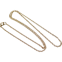 Vintage 14K Solid Yellow Gold 18 Inch Rolo Link Necklace Chain