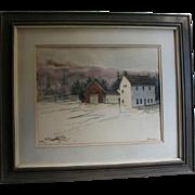 """Al Barker NYC Salamander Club Provenance 1973 Original Watercolor""""Winter Barns"""" Robert Frost Farm Derry New Hampshire"""