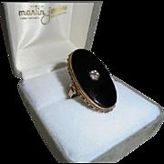 Huge Art Deco Elongated 14K Gold Onyx Diamond Statement Ring Size 7 Beautiful
