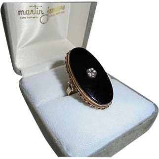 Rare Large Statement Ring 14K Gold Onyx Diamond Art Deco Sz 7