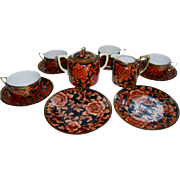 Gorgeous Morimura Bros Nippon Tea Set Gold Orange Red Black Green Wreath Mark 13 Pc Set