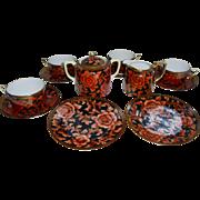 Gorgeous Morimura Bros Nippon Tea Set Gold Orange Red Black Green Wreath Mark 13 Pc Set