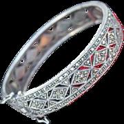 Fabulous Sterling & Marcasite Hinged Bangle Bracelet Deco Style