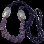 Gorgeous Amethyst Quartz Mother-of-Pearl Sautoir Necklace