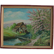 1920s Oil Painting Quaint Cottage by Footbridge Country Landscape Signed