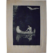 "George De Forest Brush ""The Silence Broken"" Rare Photogravure Early 20th Cent"