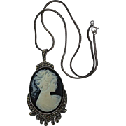 925 & Marcasite Black & White Cameo Pendant Necklace