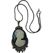 925 & Marcasite Black & White Cameo Pendant Necklace