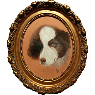 Antique Border Collie Portrait Oil Painting Signed Dated 1903 Beautiful!